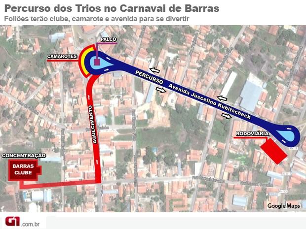 Percurso Carnaval de Barras (Foto: Adelmo Paixão)