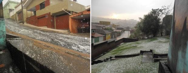 Chuva de granizo atinge Campestre. (Foto: Fábio Fernandes / VC no G1)