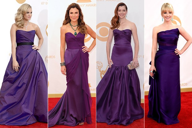 Tendências de moda no Emmy - Carrie Underwood, Tea Andrews, Alyson Hannigan e Melissa Rauch (Foto: AFP / Agência)
