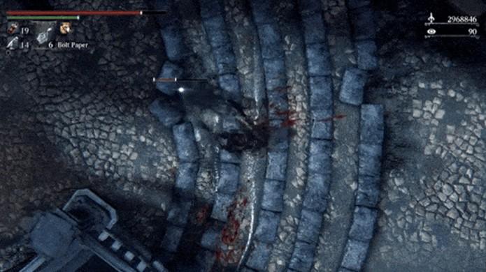 Bug em Bloodborne trava a câmera em um ponto de vista aéreo (Foto: Reprodução/Kotaku)