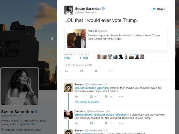 No Twitter, Susan Sarandon ironizou a sugestão de que poderia votar em Trump (Foto: Reprodução/Twitter/Susan Sarandon)