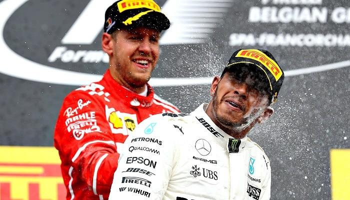 Lewis Hamilton e Sebastian Vettel na Bélgica