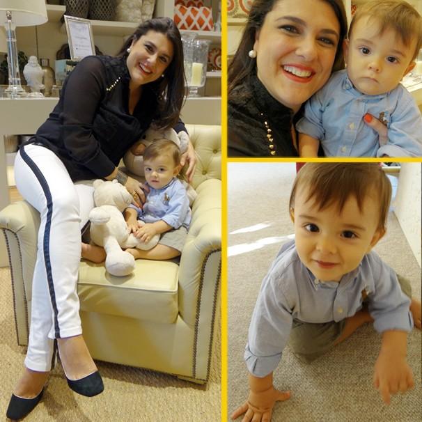 Janaina Hohne apresentadora do Viver Bem e do Bom Dia SP na TV Tribuna com seu filho Felipe (Foto: Priscila Martinez / Éder Pinheiro)