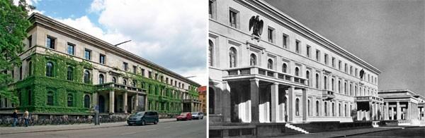 """Mesmo endereço: a Universidade de Música e Teatro de Munique hoje (à esquerda) e na época (à direita), quando era o Führerbau  (""""escritório do Führer""""), onde ele fez vários discursos públicos (Foto: Magrit Behrens, Zentralinstitut Kunstgeschichte)"""