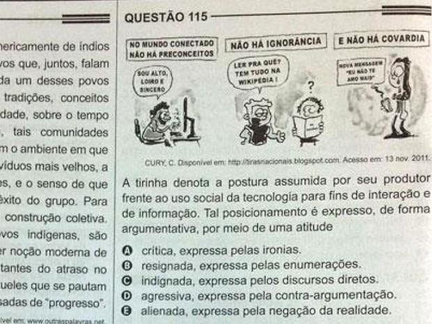 Prova do Enem 2013 leva tirinha do cartunista Caetano Cury (Foto: Reprodução)
