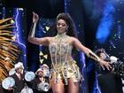 Vestida de guerreira, Juliana Alves se emociona em gravação de carnaval
