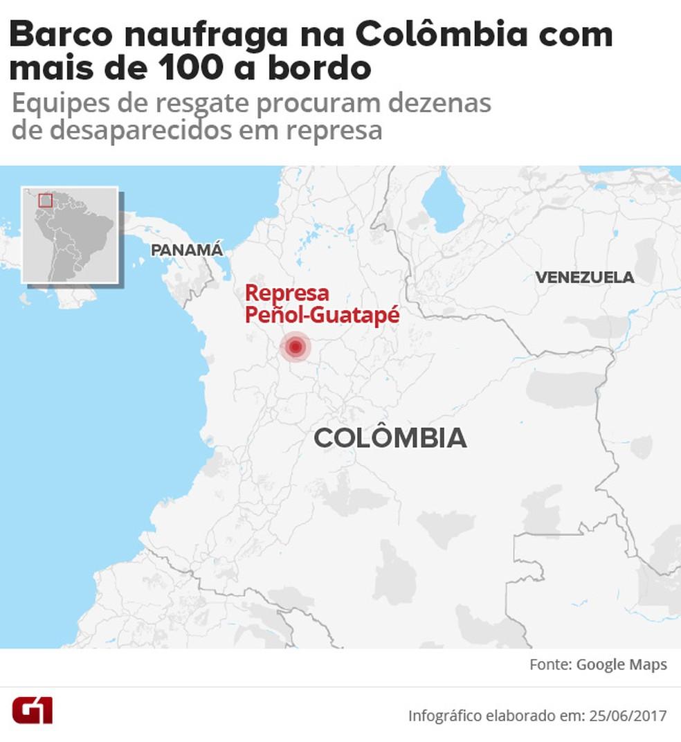 Mapa mostra local da represa Guatapé, onde embarcação naufragou neste domingo (25), deixando pelo menos três mortos (Foto: Editoria de Arte/G1)