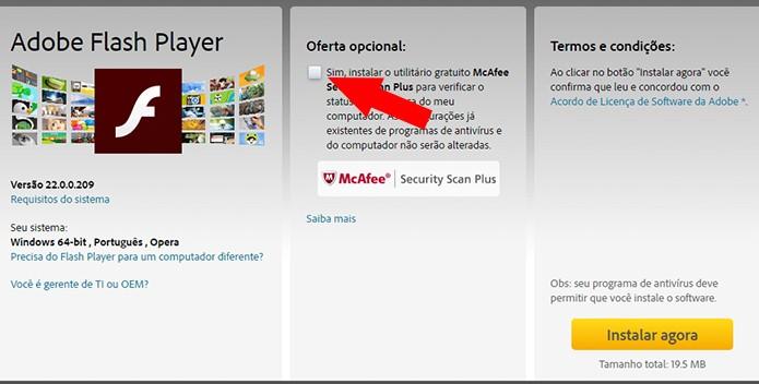 Desmarque o download do antivírus em oferta (Foto: Reprodução/Paulo Alves)