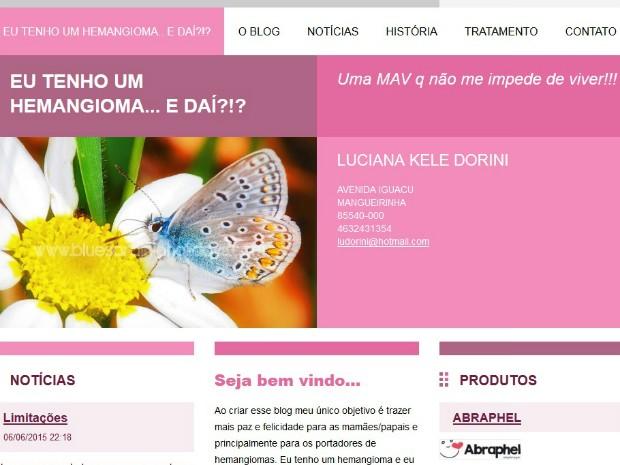 No blog, Luciana procura ajudar outras pessoas a esclarecer dúvidas sobre o hemangioma (Foto: Luciana Dorini / Arquivo pessoal)