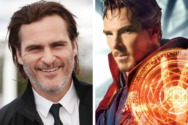 O ator Joaquin Phoenix e o Doutor Estranho de Benedict Cumberbatch (Foto: Getty Images/Reprodução)