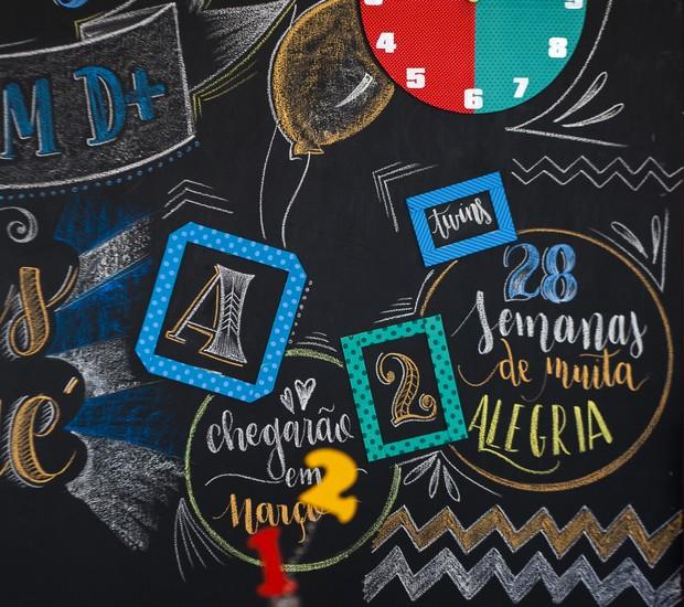 Com papelão, tecido ou fitas coloridas, você pode criar molduras estampadas e colar na parede de fundo da mesa. Faça desenhos ou frases divertidas dentro delas para trazer mais graça à festa.  (Foto: Divulgação)