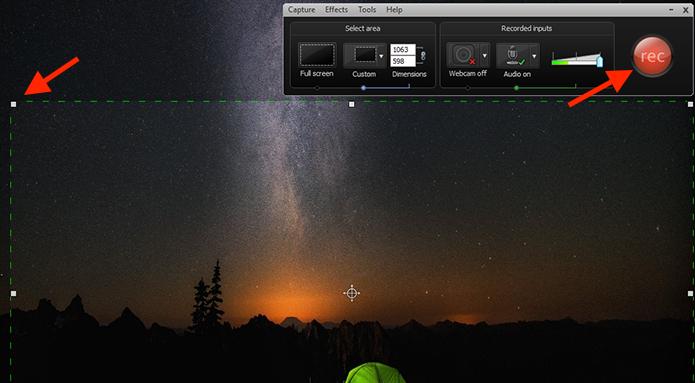 Determinando a área da tela que será captada com o Camtasia Studio (Foto: Reprodução/Marvin Costa)