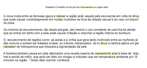 Alessandra Cariúcha divulga clareamento anal (Foto: Reprodução)