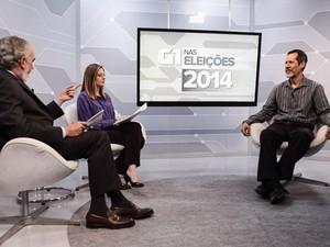 O candidato do PV à Presidência, Eduardo Jorge, é entrevistado no estúdio do G1 (Foto: Caio Kenji/G1)