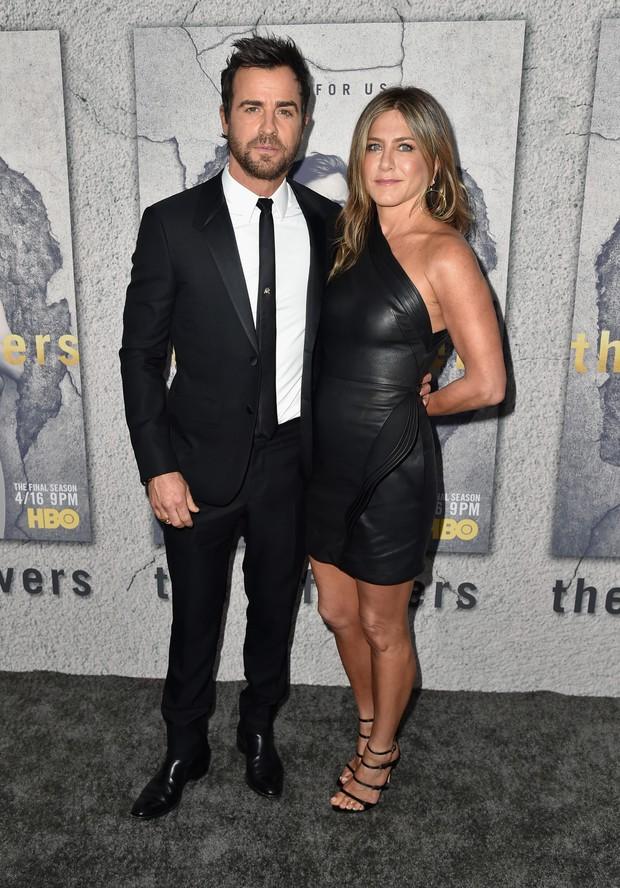 Justin Theroux e Jennifer Aniston em première de série em Los Angeles, nos Estados Unidos (Foto: Alberto E. Rodriguez/ Getty Images/ AFP)