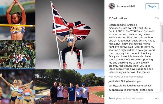 Jessica Ennis-Hill post aposentadoria (Foto: Reprodução Instagram)