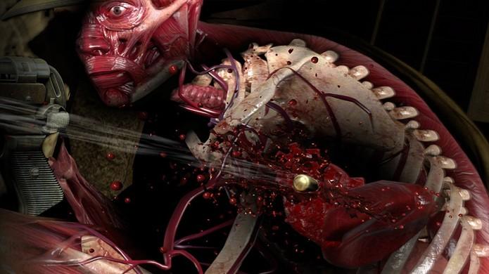Sniper Elite 3 mostra os violentos danos internos causados por seus tiros através de uma câmera especial de Raios X (Foto: Reprodução/DualShockers)