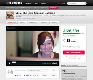 Muse, que permite controlar gadgets com a mente, é apresentado em campanha para arrecadar fundos no site Indiegogo (Foto: Reprodução)