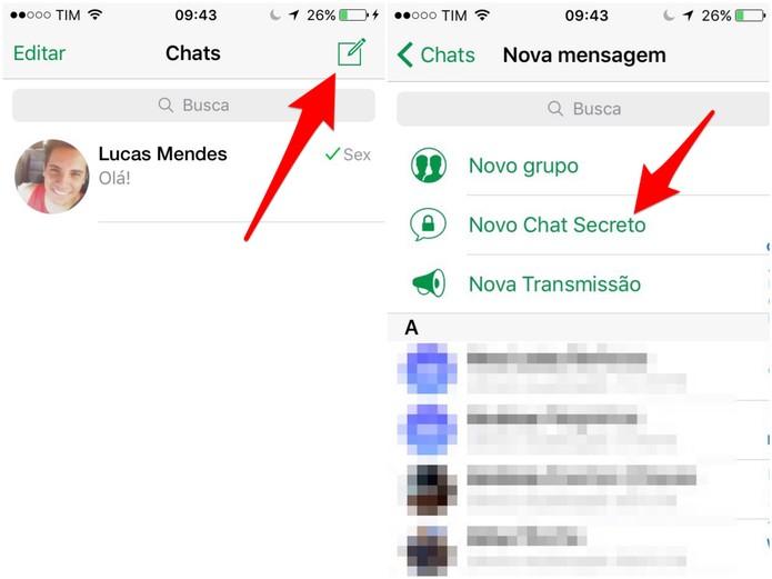 Clique no ícone de nova conversa e inicie um Novo Chat Secreto (Foto: Reprodução/Lucas Mendes)