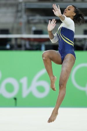 Rebeca Andrade no treino de pódio (Foto: Ricardo Bufolin/CBG)