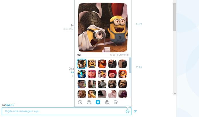 Animação é a palavra certa para os Minions nesse moji do Skype (Foto: Reprodução/Barbara Mannara)