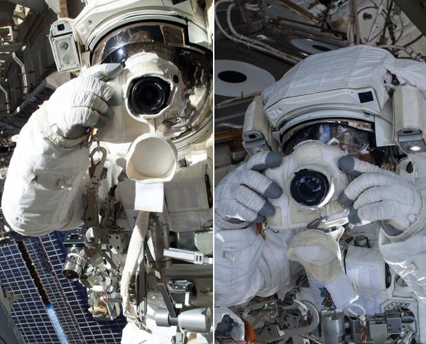 Chris Cassidy e Luca Parmitano se fotografando durante caminhada espacial (Foto: NASA)