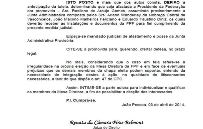 decisão rosilene gomes afastamento federação paraibana de futebol (Foto: Reprodução / Justiça da Paraíba)