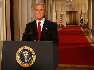 George W. Bush, durante pronunciamento à Nação para explicação a ajuda bilionária do governo americano ao bancos (Foto: Getty Images)