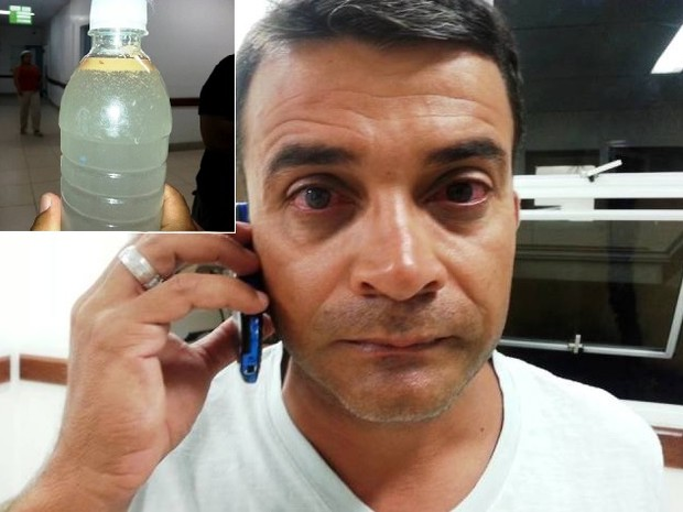 Turista coletou água depois de irritação nos olhos (Foto: Bebeto Karolla / Folha de Búzios)