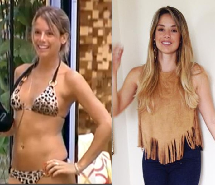 Ainda gata e loira, Fenanda não mudou muito depois de 5 anos fora da casa (Foto: Tv Globo e Reprodução da Internet)