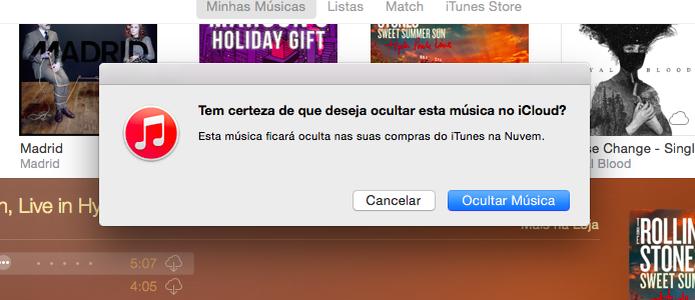 Ocultando música da biblioteca do iCloud (Foto: Reprodução/Helito Bijora)