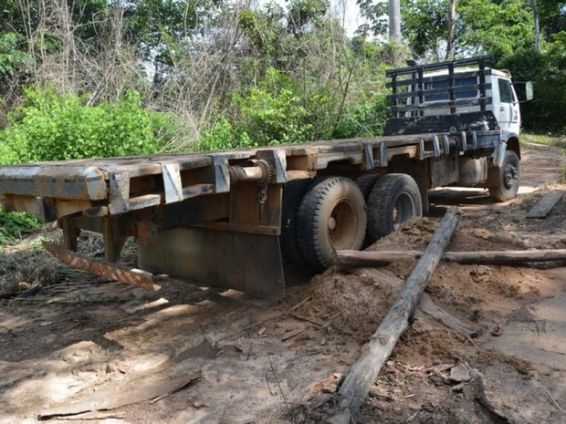 Caminhão estava em área de desmatamento ilegal (Foto: Polícia Militar/ Divulgação)