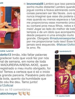 Falcão elogia companheiros do Madureira em rede social (Foto: Reprodução Instagram)