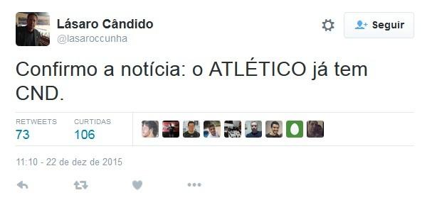 Tweet Lásaro Cunha CND (Foto: Reprodução Internet)