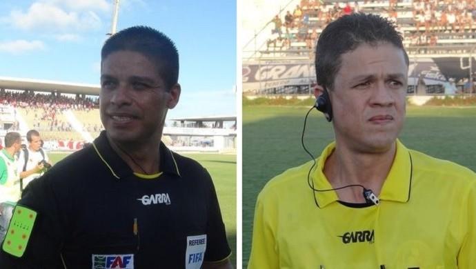 Francisco Carlos Nacimento e Charles Hebert Cavalcante, árbitros alagoanos (Foto: Leonardo Freire/GloboEsporte.com)