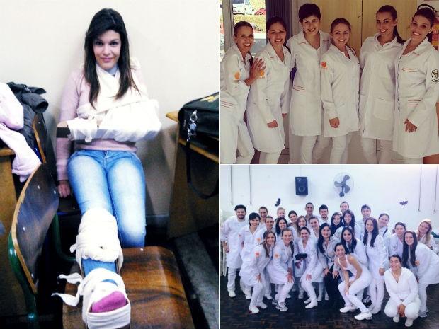 Maria Carolina durante uma aula prática e depois, com colegas do curso de fisioterapia (Foto: Arquivo Pessoal)