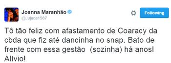 Joanna Maranhão comemorou liminar contra a CBDA em suas redes sociais (Foto: Reprodução / Twitter)