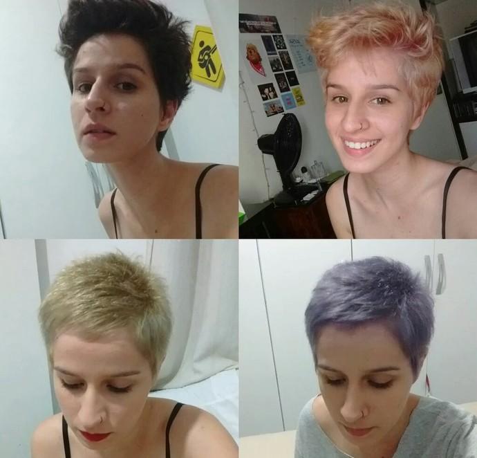 Natália Noronha com diferentes cores de cabelo (Foto: Divulgação)