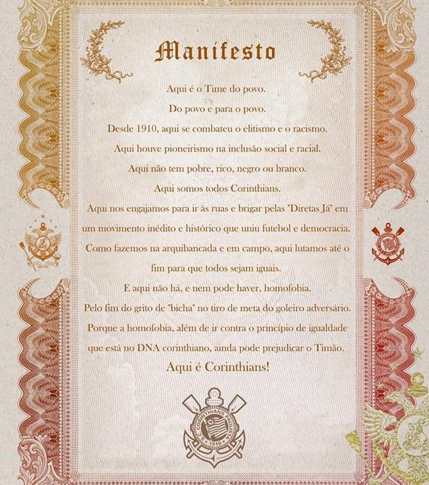 """Em manifesto, o Corinthians pede o fim dos gritos """"bicha"""" nos estádios (Foto: Reprodução/Facebook)"""