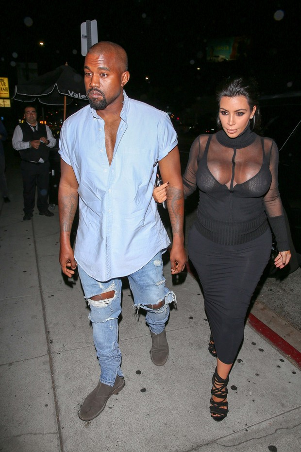 Kanye West e Kim Kardashian (Foto: AKM)