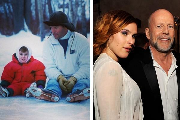 Rumer e Bruce Willis antigamente e em 2013 (Foto: Twitter / Getty Images)