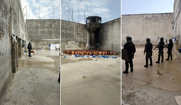 Além das celas sem grades, imagens também mostram uma das guaritas, incendiada no ano passado, ainda sem policiamento para fazer a vigilância dos presos (Foto: G1/RN)