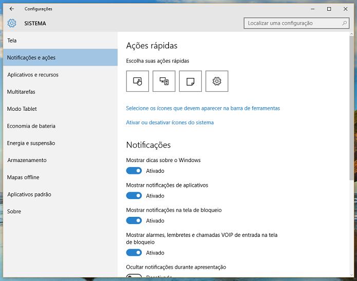 Selecione a opção de notificações para editar as preferências (Foto: Reprodução/Thiago Barros)