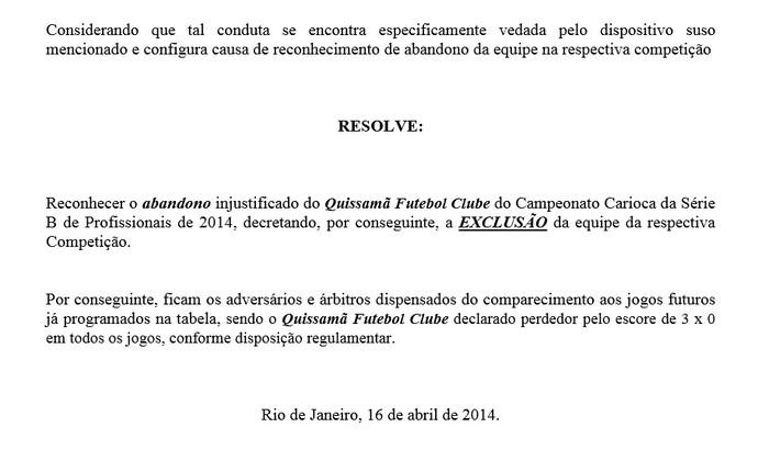 Decisão da Ferj exclui o quissamã da série b do carioca (Foto: Reprodução Ferj)