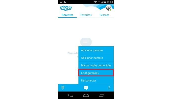 Destaque para menu de Configurações do Skype para Android (Foto: Reprodução/ Raquel Freire)