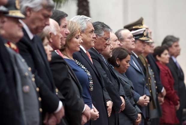 Presidente do Chile Sebastian Piñera participa de uma cerimônia em Santiago para lembrar os 40 anos do golpe militar (Foto:  Claudio Santana/ AFP)