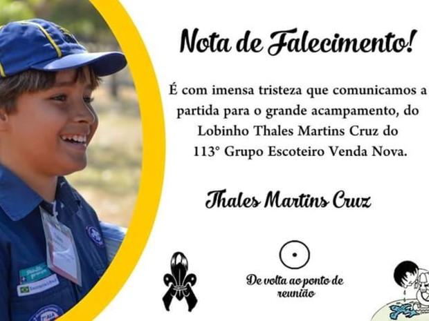 Escoteiros de Minas Gerais fazem homenagem a Thales (Foto: Escoteiros do Brasil - MG/Divulgação)