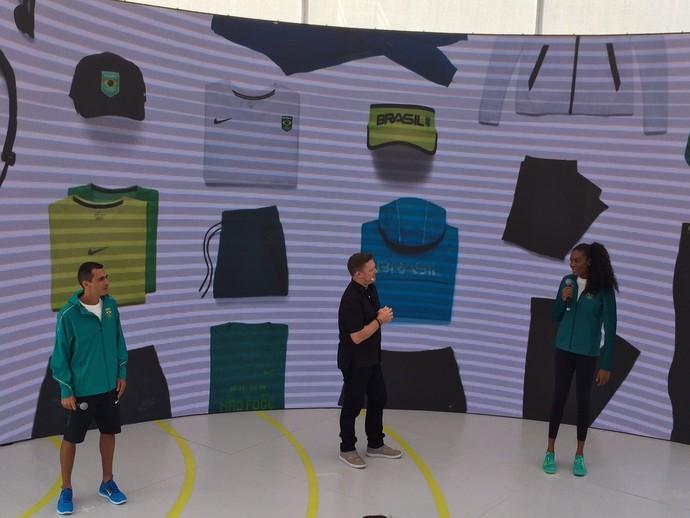 Marilson dos Santos e Fabiana Claudino - uniformes da vila olimpica time brasil rio 2016 (Foto: André Durão)