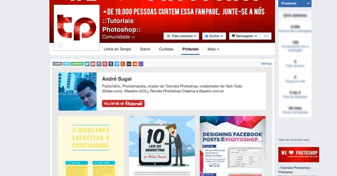 Insira uma aba do Pinterest em uma Fan Page do Facebook (Foto: Reprodução/André Sugai)