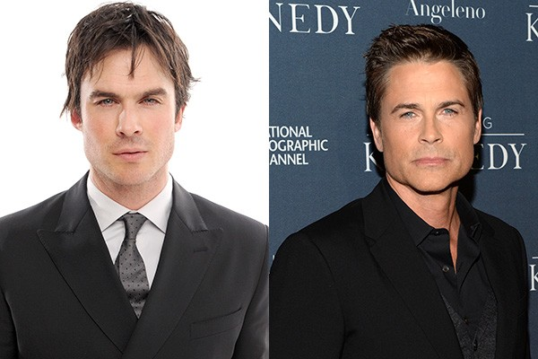 Duas gerações, dois galãs: Ian Somerhalder, de 'The Vampire Diaries', e Rob Lowe, de 'Parks & Recreation'. (Foto: Getty Images)